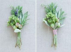 Herb Boutonnieres: http://brokecreativebride.wordpress.com/2011/02/22/diy-herb-boutonnieres/