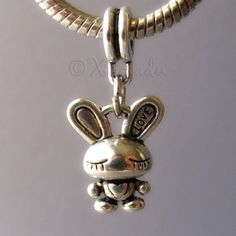 Valentines Day Sale 10% Off - Adorable 3D Love Bunny Rabbit Dangling Charm - Large Hole Fits All European Charm Bracelets - Great For Easter on Etsy, $3.95