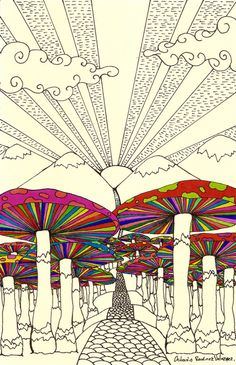psychedelic mushroom illustration / image credit: tumbler account peace-at-dusk Kunst Inspo, Art Inspo, Trippy Drawings, Art Drawings, Drawing Art, Psychedelic Art, Art And Illustration, Images Pop Art, Stoner Art