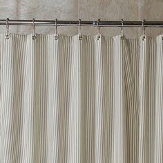 Gray Ticking Stripe Shower Curtain - 5 Colors Available - and larger sizes