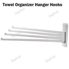 Bathroom Kitchen Towel Organizer Hanger Hooks w/ Sticker & 4-Hook HLI-158525