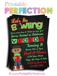 Birthday Party Invitation - Lets Go Bowling - Boy - Red and Green - Vertical