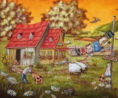 Artiste peintre Christine Genest Art And Illustration, Illustrations, Folk, Italian Paintings, Arte Country, Storybook Cottage, Farm Art, Art Story, Colouring Techniques