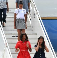 Michelle Obama and her daughters Sasha & Malia arriving in Venice,Italy