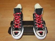 Minnie Mouse Style Black Converse Swarovksi Crystal Bling High Tops
