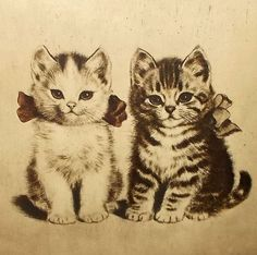 Two Kittens - Signed Etching Print - Wood Frame