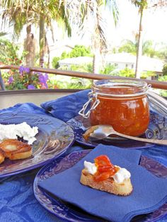 Sicilian Style Tomato Jam- Spicy, Sweet and Savory - I removed the skins, added thinly sliced lemons and jalapenos and served with homemade ricotta cheese and basil oil on baguettes.