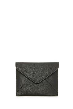 Pebbled Faux Leather Envelope Wallet