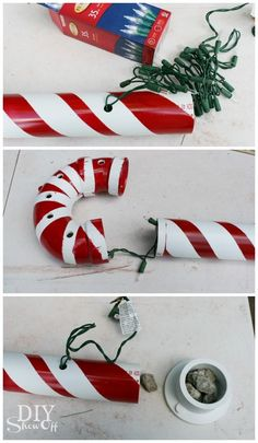 Lighted pvc candy canes diy christmas home decor Diy Christmas Decorations For Home, Diy Christmas Lights, Christmas Porch, Christmas Projects, Simple Christmas, Holiday Crafts, Christmas Holidays, Christmas Ornaments, Christmas Vacation