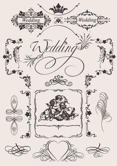 elementos do vetor teste padrão do vintage casamento