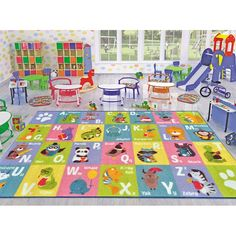 Zoomie Kids Pierce Indoor/Outdoor Area Rug Rug Size: Rectangle x - New Site Kids Area Rugs, Nursery Rugs, Cool Rugs, Indoor Outdoor Area Rugs, Beige Area Rugs, Runes, Green And Grey, Kids Playing, Rug Size