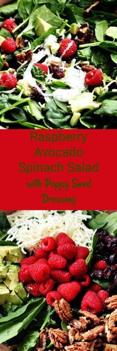 Raspberry Avocado Spinach Salad with Poppy Seed Dressing, Recipe Treasures