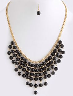 Shadow Show Chain and Bead Necklace Set $20 www.popofchic.com