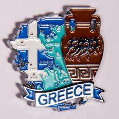 Metal Fridge Magnet: Greece. Map of Greece (Chrome Plating and Enamel)