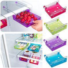 Slide Kitchen Fridge Freezer Space Saver Organization Shelf Holder Storage Rack