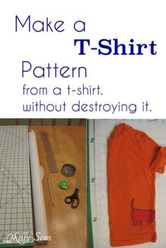 Basic T-Shirt Pattern - Melly Sews.  How to make a pattern from an existing shirt.