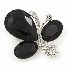 bcd8b5c6b7b Black Clear Diamante Asymmetrical  Butterfly  Brooch In Silver Finish - 4cm  Length Avalaya