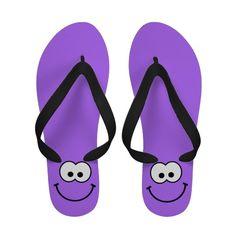 Happy Smiley Purple Flip Flops