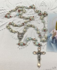 Your place to buy and sell all things handmade Rosary Bracelet, Hail Mary, Rosary Catholic, Rosaries, Religious Gifts, Sacred Heart, Mother And Child, Bead Caps, Seed Beads