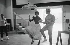 Julie Andrews and Dick Van Dyke in the rehearsal choreography of Mary Poppins