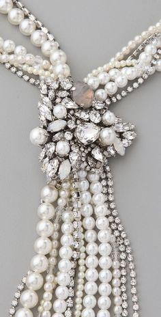 ❥ white wedding necklace