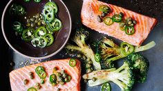 Roast Salmon and Broccoli with Chile-Caper Vinaigrette Recipe | Bon Appetit