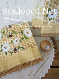 Crochet this lovely edging on kitchen towels, burp cloths and pretty pillowcases. Detailed tutorial with lots of pictures.