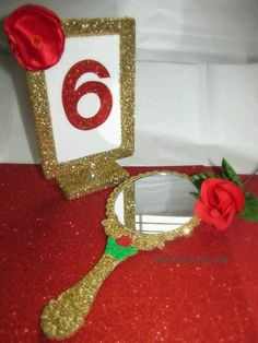 $20 ebay Beauty and the Beast Themed Birthday Party Decor Gold Glittered Enchanted Mirror Belle