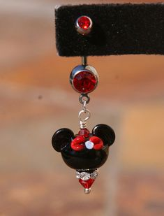Belly Button Ring Minnie Mouse Style Disney by TheGlassPixie Belly Button Piercing Jewelry, Bellybutton Piercings, Cute Piercings, Piercing Ring, Body Piercings, Piercing Ideas, Cute Belly Rings, Belly Button Rings, Nose Rings