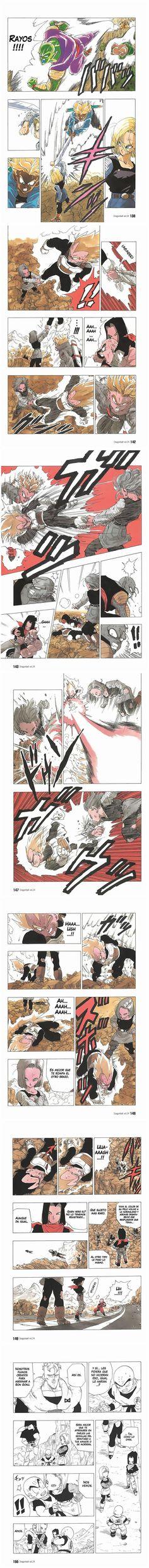 Some scenes of my favorite battle: No 18 Vs Vegeta    Manga Ep 354 Dragon Ball Z   Español Latino