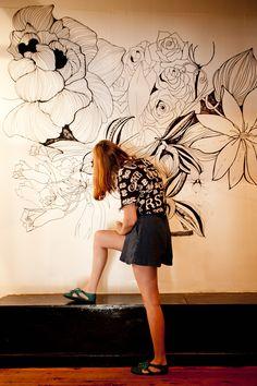Work in Progress! Floral mural for Love Tilly Devine - Adriana Picker