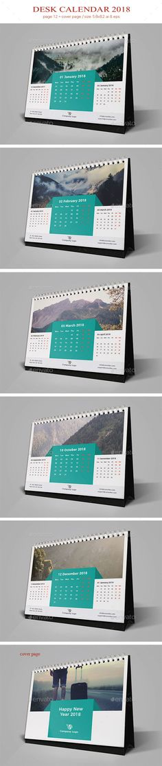 Desk Calendar 2018 12 pages Cover page Week starts Monday Ai & Eps file. Table Calendar, Office Calendar, Desk Calendars, Stationery Printing, Stationery Templates, Stationery Design, Calendar 2019 Design, Calendar Layout, Corporate Stationary
