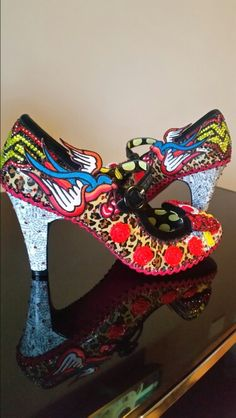 Custom made alternative wedding shoes created by reviveme boutique. Lego rockabilly leopard print wonder woman shoes.