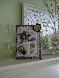 Black & Ivory Wall Hanging - Mini Wall Quilt - Fiber Art - Victorian Textile Art. $48.00, via Etsy.