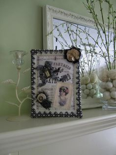 Black & Ivory Wall Hanging - Mini Wall Quilt - Fiber Art - Victorian Textile Art. $48.00, via Etsy.