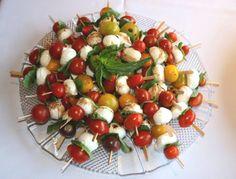 Mozzarella Skewers with tomato and basil...gluten free!  http://nancynewcomer.com/2013/03/01/mozzarella-skewers-with-tomato-basil/