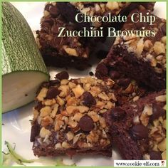 Chocolate Chip Zucchini Brownies: ingredients, directions, and special baking tips from The Elf to make this easy cookie recipe to use up extra zucchini. Cake Mix Cookie Recipes, Cake Mix Cookies, Cookies Et Biscuits, Zucchini Brownies, Zuchinni Recipes, Recipe Community, Best Appetizers, Cookie Bars