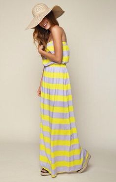 Neon Yellow Flourescent Maxi Dress Strapless