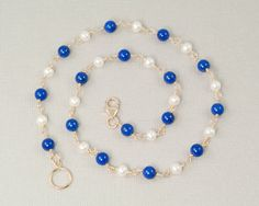 Lapis lazuli pearl necklace gold filled blue and by GSStudioworks, $78.00