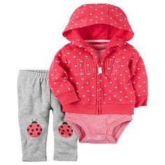 "Carter's 3 Piece Red Heart Printed Hooded Cardigan, Striped Bodysuit and Grey Lady Bug Printed Pant Set - Carters - Babies ""R"" Us"