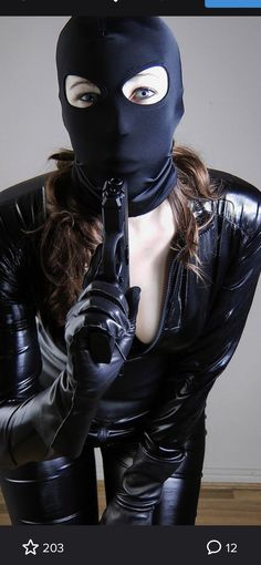Female Assassin, Balaclava, Catsuit, Skiing, Gloves, Leather Outfits, Cosplay, Superhero, Firearms