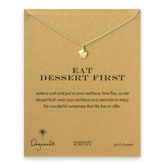 eat dessert first cupcake necklace, gold dipped #dogeared