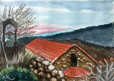 Monesteri of Mounda Watercolors, Watercolor Paintings, Tv, House Styles, Home Decor, Water Colors, Decoration Home, Room Decor, Television Set