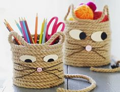 Cats Toys Ideas - Easy Craft for Kids - Cat Storage Baskets - Ideal toys for small cats Rope Crafts, Cat Crafts, Craft Projects For Kids, Easy Crafts For Kids, Diy For Kids, Diy And Crafts, Arts And Crafts, Craft Ideas, Diy Ideas