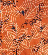 Holiday Inspirations Fabric-Boo! On Orange Glitter