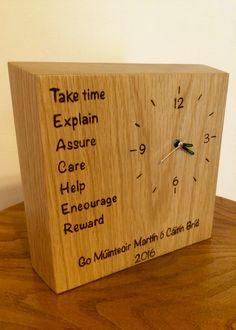 Teacher appreciation clock in white Oak