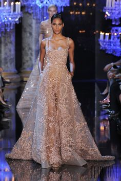 Elie Saab Fall-winter Scattered with Rose Gold Sequins. (Click through to see a video of the Elie Saab fashion show. Evening Dresses, Prom Dresses, Wedding Dresses, Dress Prom, Club Dresses, Couture Fashion, Runway Fashion, Net Fashion, Long Prom Dresses