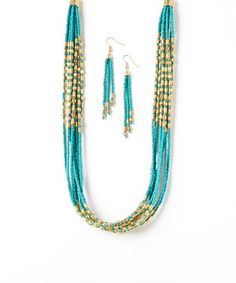 Loving this Teal & Gold Beaded Necklace & Earrings on #zulily! #zulilyfinds