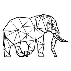 Geometric Quilt, Geometric Shapes, Geometric Elephant, Drawing Skills, Drawing Reference, Animal Line Drawings, Polygon Shape, Abstract Shapes, Pattern Drawing