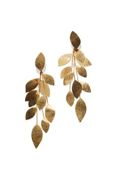 Shop designer clothes, shoes, bags & accessories for Men & Women from all over the world. Statement Jewelry, Gold Jewelry, Jewelry Accessories, Jewelry Design, Diy Schmuck, Leaf Shapes, Gold Earrings, Leaf Earrings, Jewelry Collection